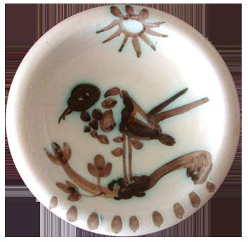 Céramique madoura de  : Oiseau sous le soleil, Madoura