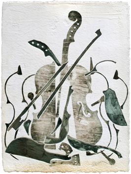 Original signed monotype de  : Colère de violon IX