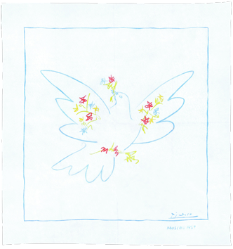 Sérigraphie de  : Colombe aux fleurs