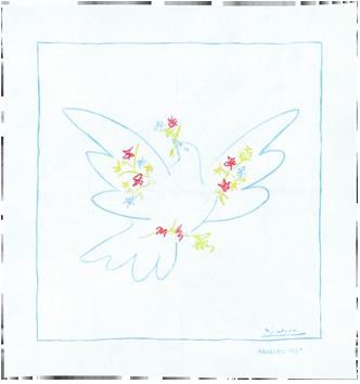 Screenprint de  : Dove with flowers