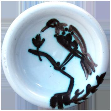 Céramique madoura de  : Oiseau sur une branche