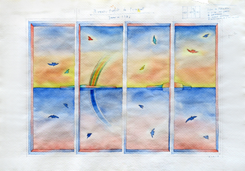 Original signed watercolour de  : Project for a Folding screen