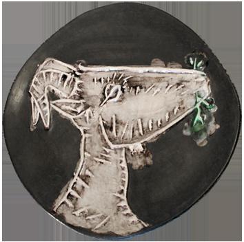 Numbered Madoura ceramic de  : Goat's head in profile