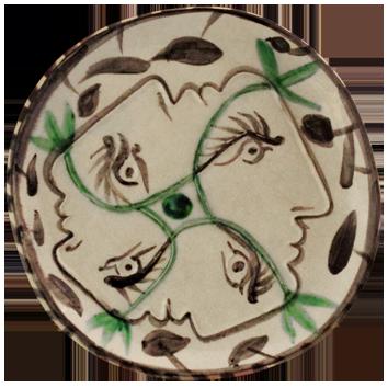 Céramique empreinte originale de  : Quatre profils enlacés