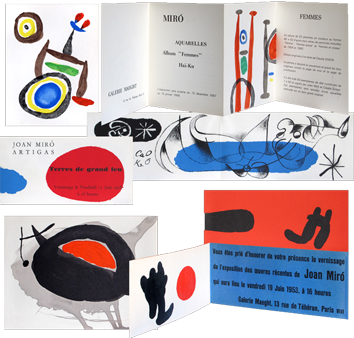 Lithographies originales de Miro Joan : Quatre cartons d'invitation