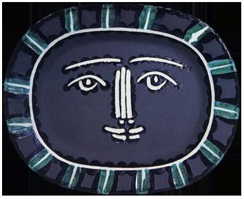 Madoura ceramic de  : Grey face, Madoura