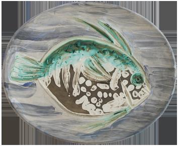 Numbered Madoura ceramic de  : Blue fish