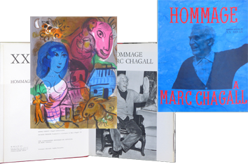 Book with lithograph de Chagall Marc : Hommage à Marc Chagall