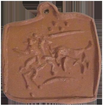 Céramique empreinte originale de  : Picador et taureau