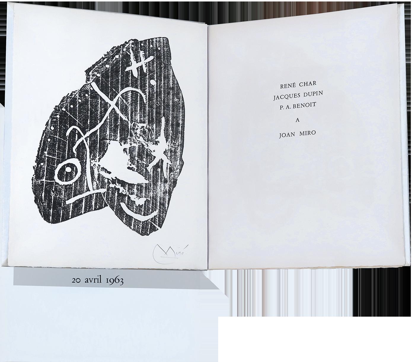Joan Miro Original Signed Woodcut Book Rene Char Pab Publisher 1963